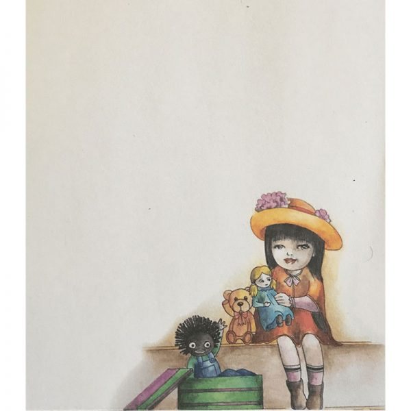 Notepad With Seated Little Girl