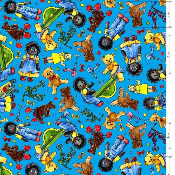 Blue Golliwog Cotton Fabric 147cm wide